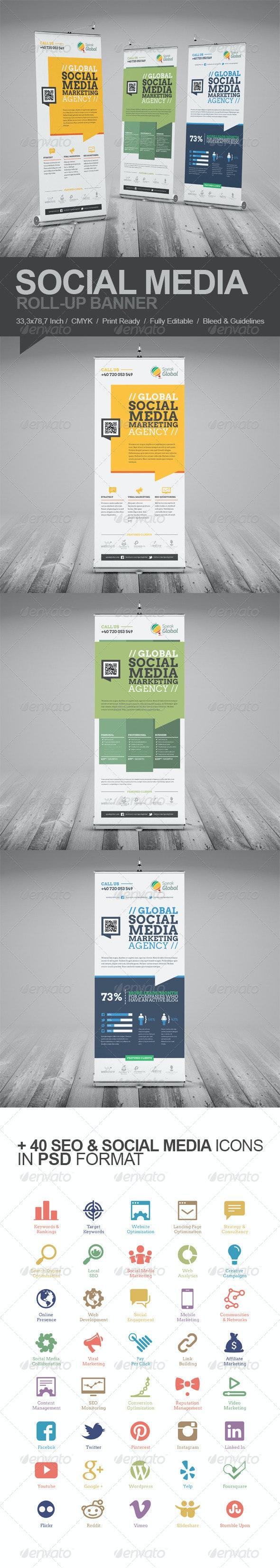 Social Media Marketing Roll-Up Banner - Signage Print Templates