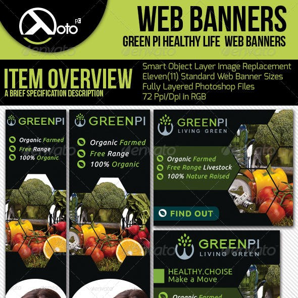 Green Pi Healthy Living Web Banners