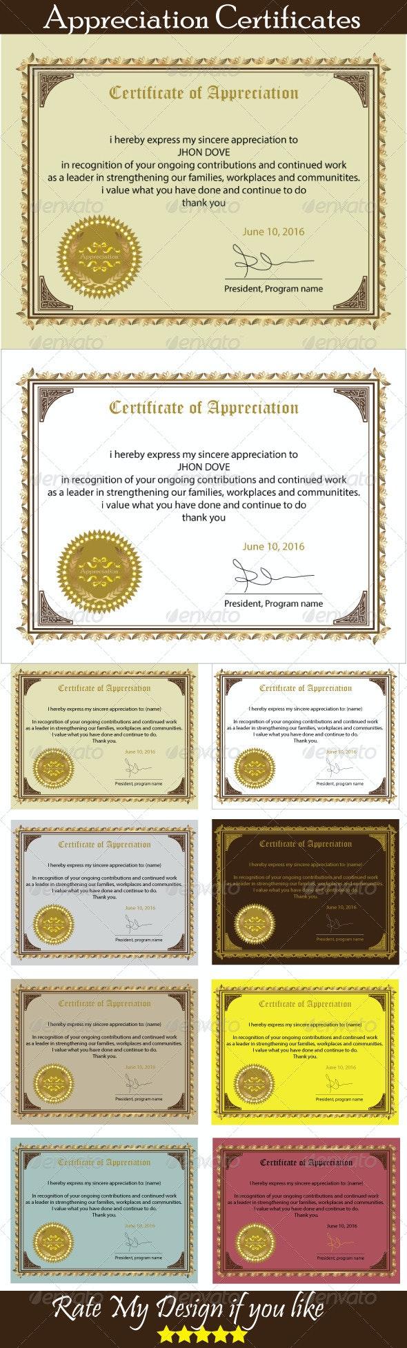 Certificate of Appreciation - Certificates Stationery