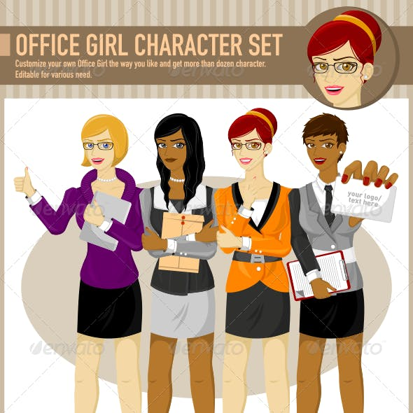 Office Girl Character Set