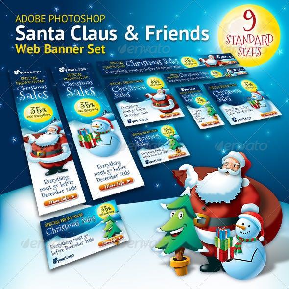 Santa Claus & Friends Christmas Web Banner Set