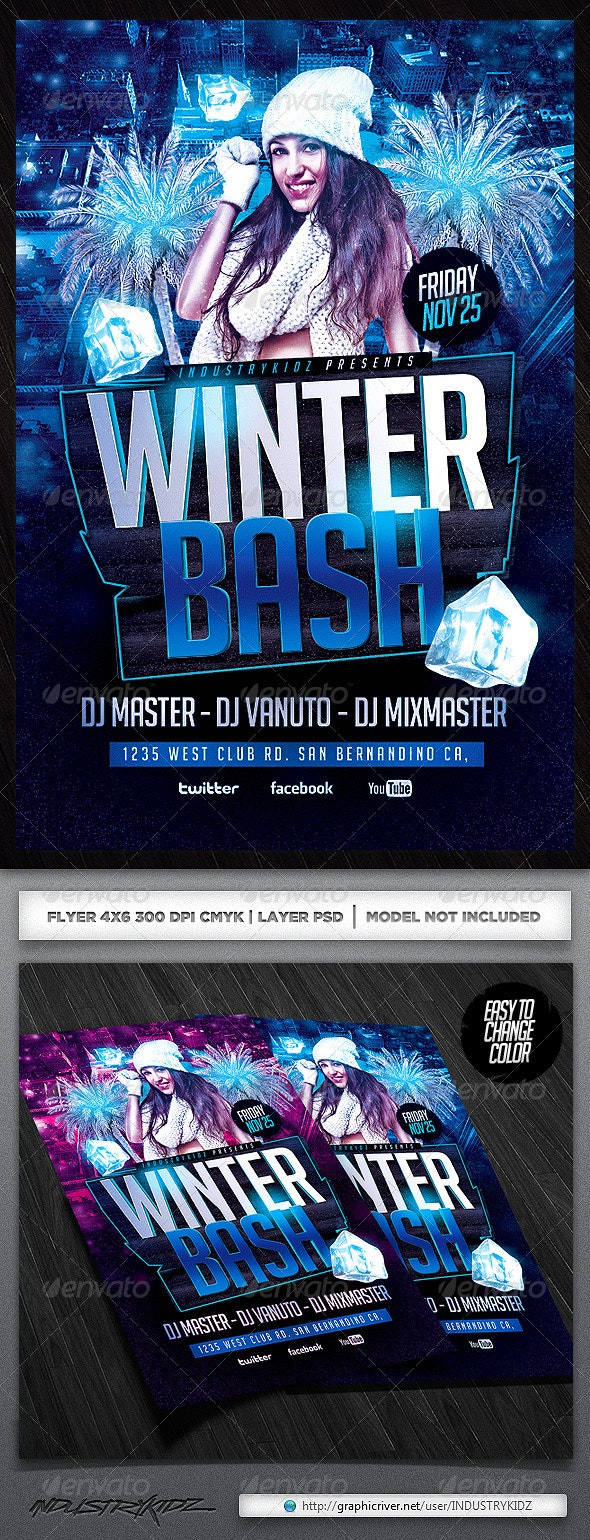 Winter Bash PSD Flyer - Clubs & Parties Events