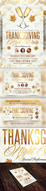 Thanksgiving Night Vertical Horizontal + FB Cover - Flyers Print Templates