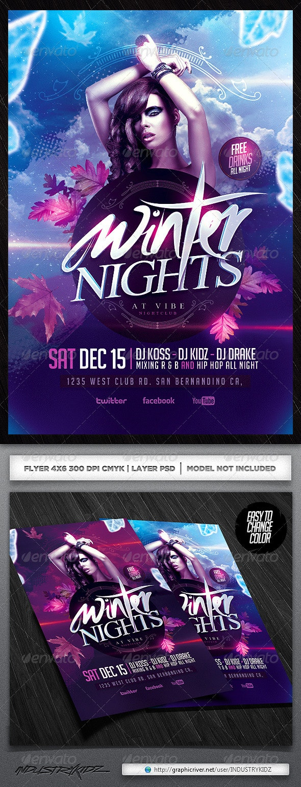 Winter Party Psd Flyer - Clubs & Parties Events