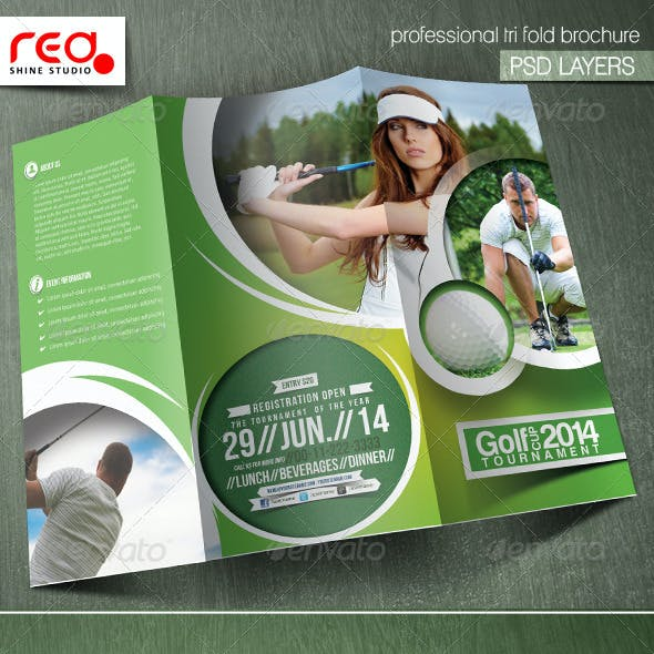 Golf Tournament Trifold Brochure Template