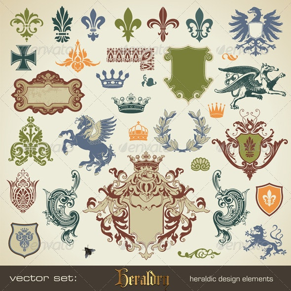 Vector Set: Heraldic Design Elements - Decorative Symbols Decorative