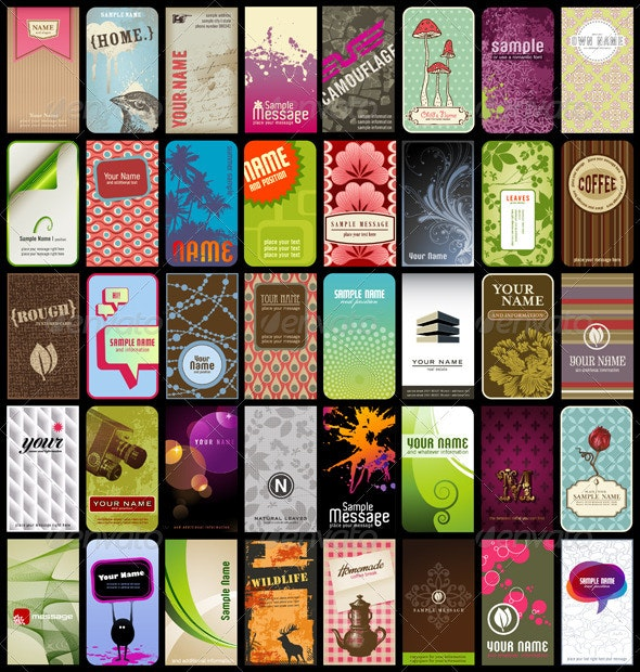 40 Vertical Business Cards Or Backgrounds (2) - Backgrounds Decorative