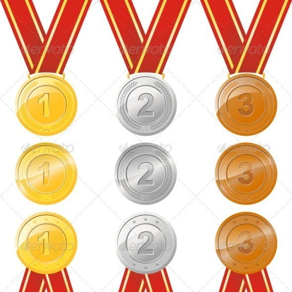 Gold Silver Bronze Award Medal With Ribbon
