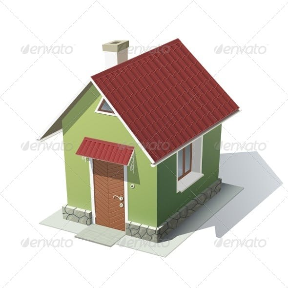 Green House with Red Roof