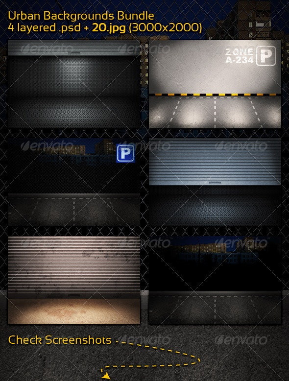 Urban Backgrounds - Bundle - 3D Backgrounds