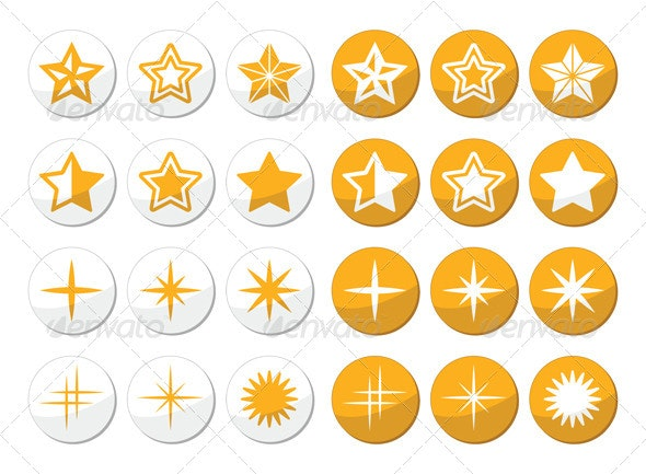Gold Stars Round Icons Set - Christmas Seasons/Holidays