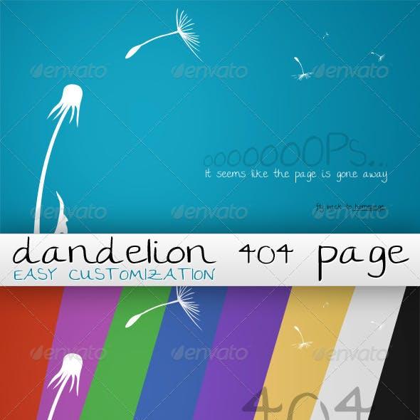 Dandelion 404 Customizable Page