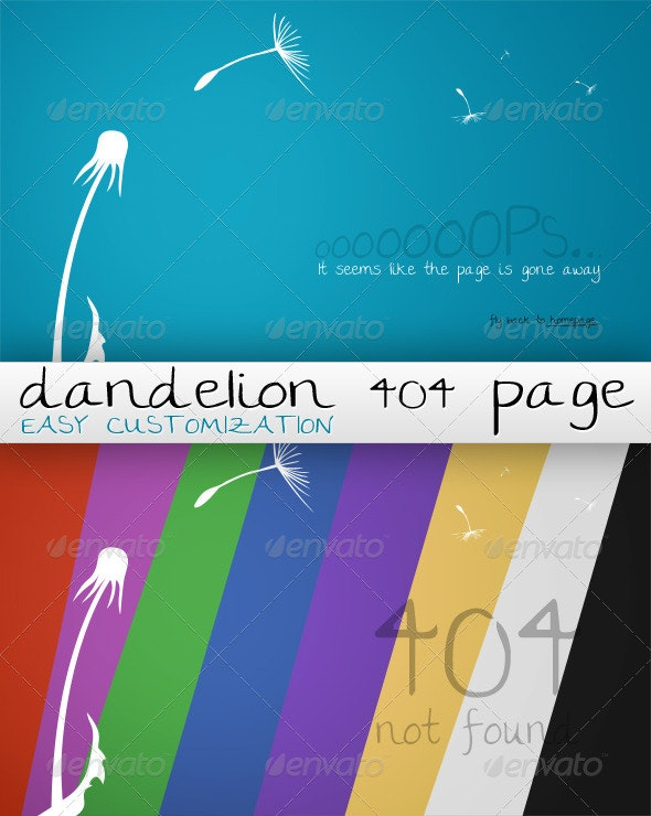 Dandelion 404 Customizable Page - 404 Pages Web Elements