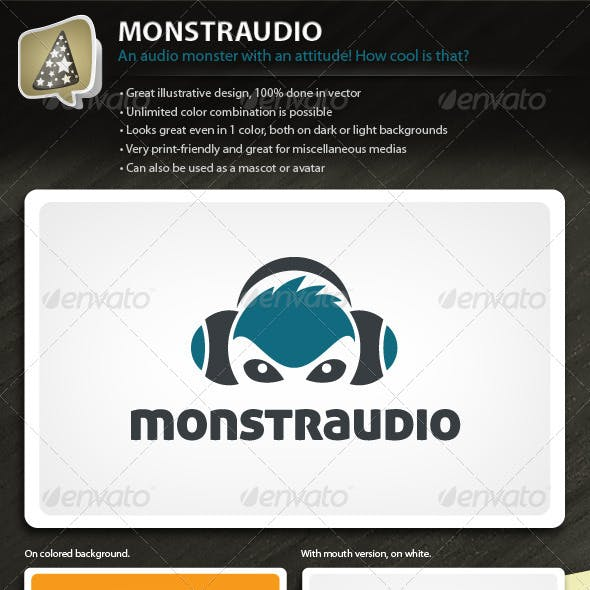 Monstraudio - Illustrative Logo for Your Audio Biz