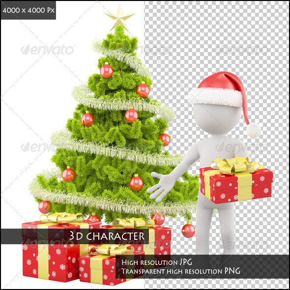 Santa Claus with a Christmas Tree - Characters 3D Renders
