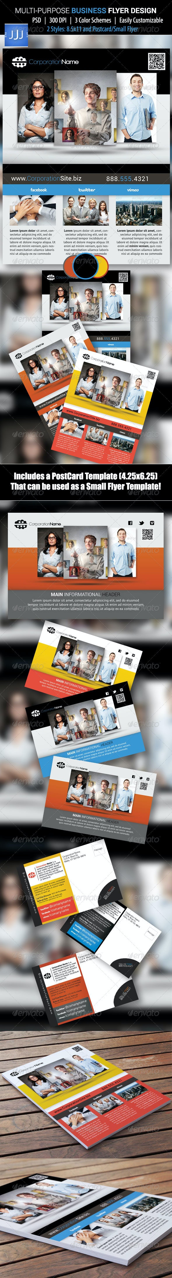 Multipurpose Business Flyer 15 with Postcard - Corporate Flyers