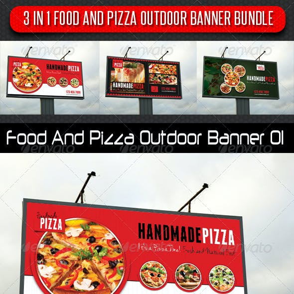 3 in 1 Food And Pizza Outdoor Banner Bundle