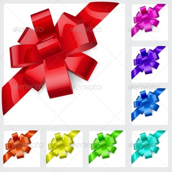 Multicolored Bows of Ribbons