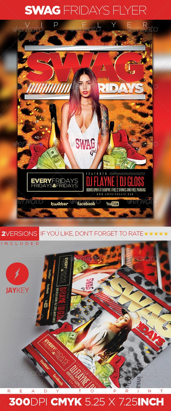 Swag Fridays Party Flyer - Clubs & Parties Events