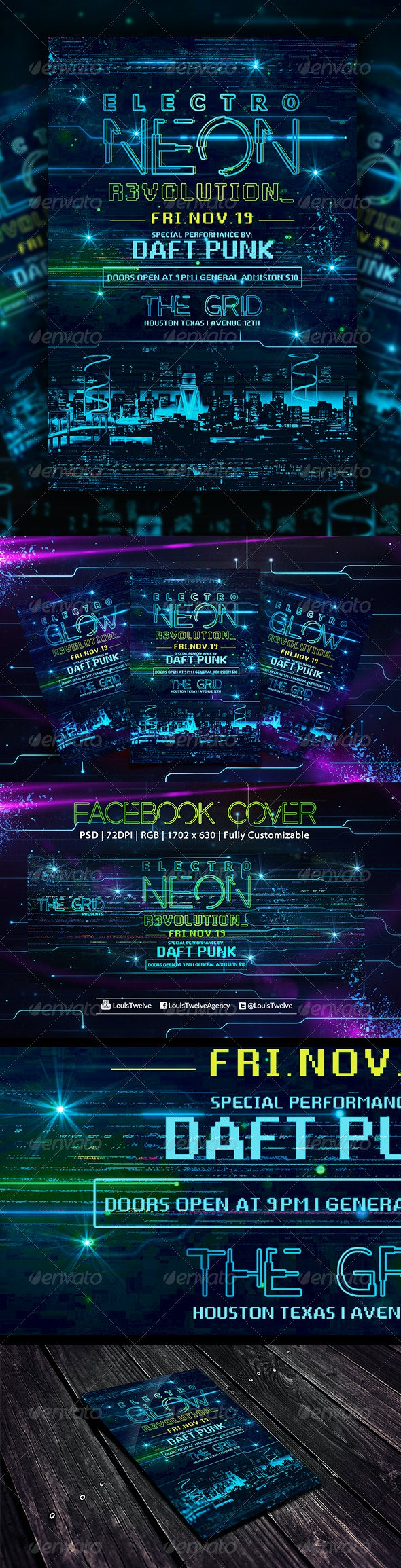 Electro Neon   Flyer + Fb Cover - Events Flyers