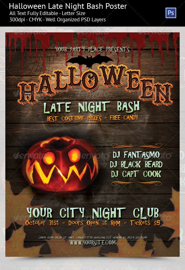 Halloween Late Night Party Poster/Flyer - Holidays Events