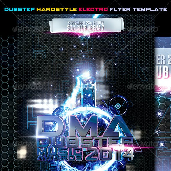 Dubstep Hardstyle Electro Flyer Template Vol.2