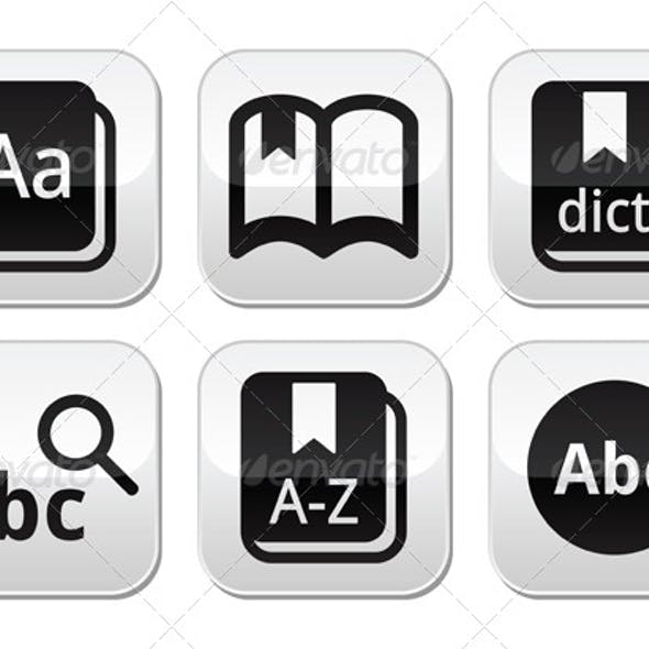 Dictionary Book Vector Buttons Set