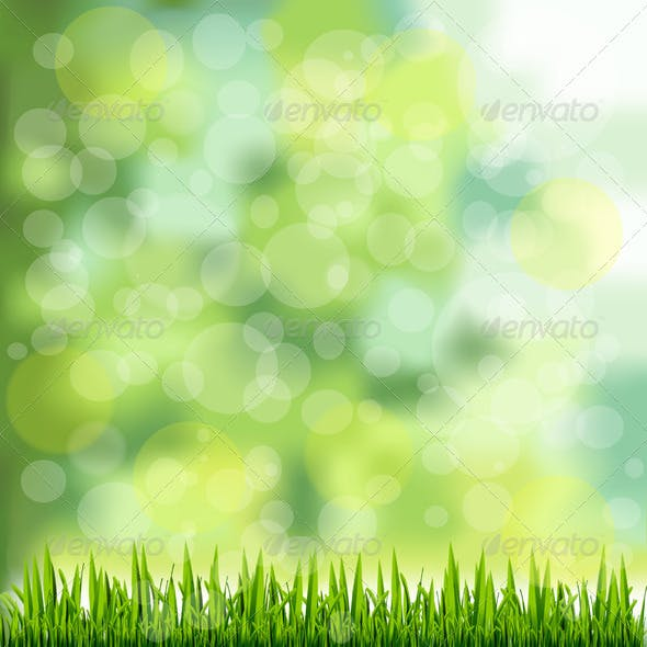 Grass Border on Natural Green Background