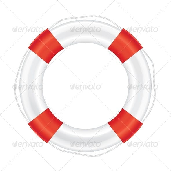 Lifebuoy with Red Stripes and Rope.