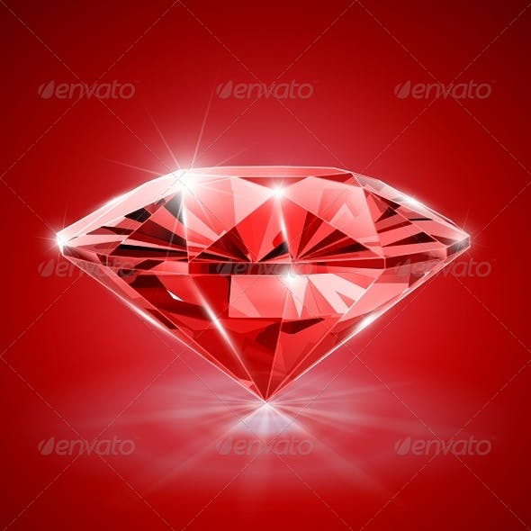 Diamond on Red Background