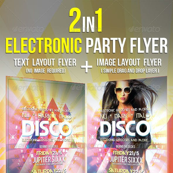 Electronic Party Flyer Poster 2 in 1 Disco Electro