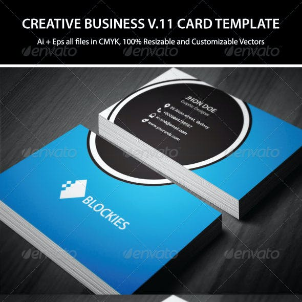 3 Colors Creative Business Card Template