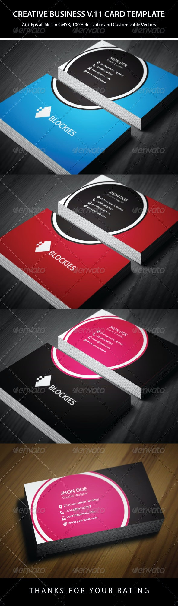 3 Colors Creative Business Card Template - Creative Business Cards