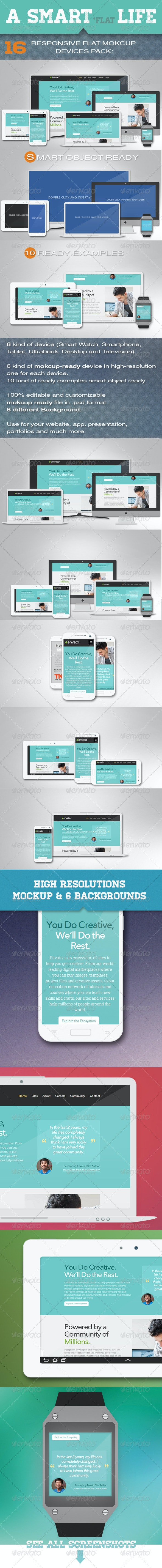 Responsive Flat Mockup Devices Pack - Multiple Displays