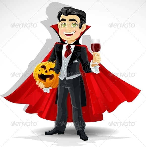 Vampire with Halloween Pumpkin  - People Characters