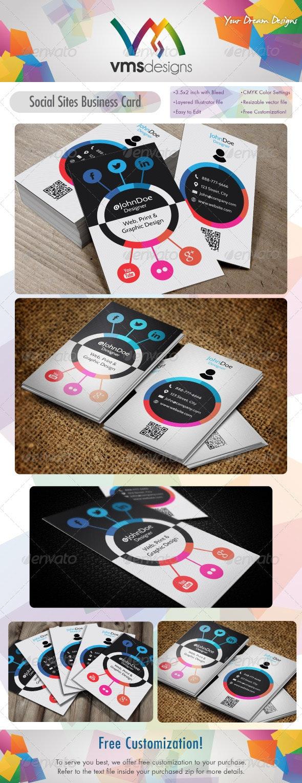 Social Sites Card / Social Wheel v2 - Creative Business Cards