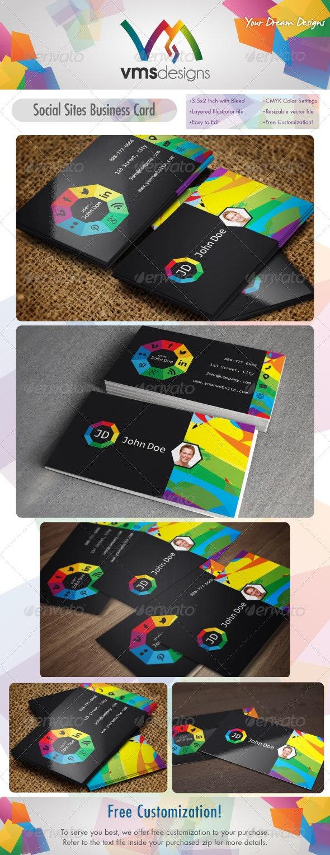 Social sites card / Social Wheel v1 - Creative Business Cards