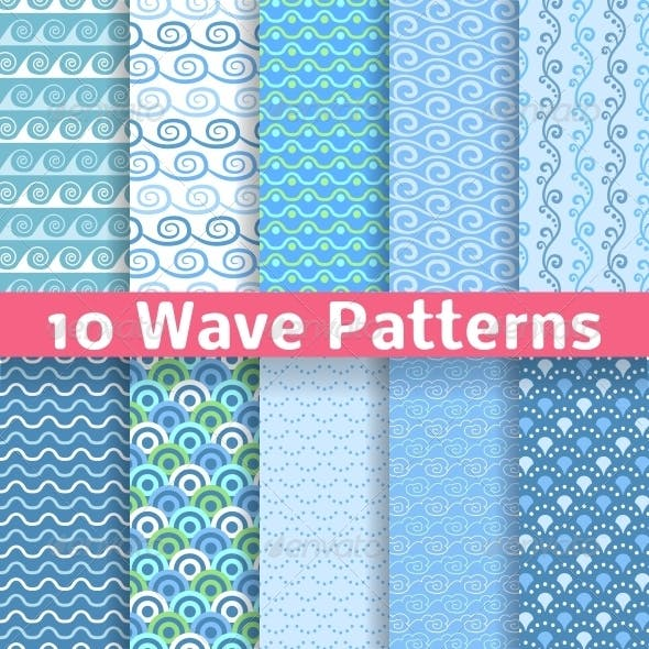 Wave Different Seamless Patterns