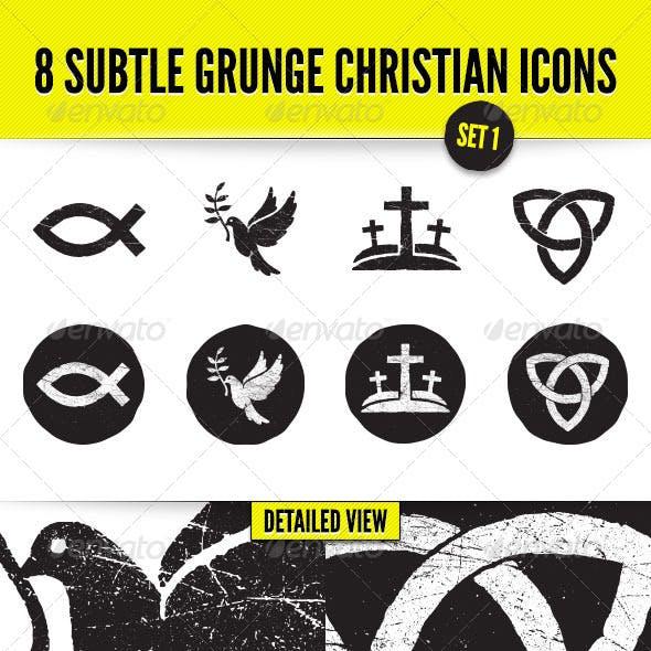 8 Subtle Grunge Christian Icons - Set 1