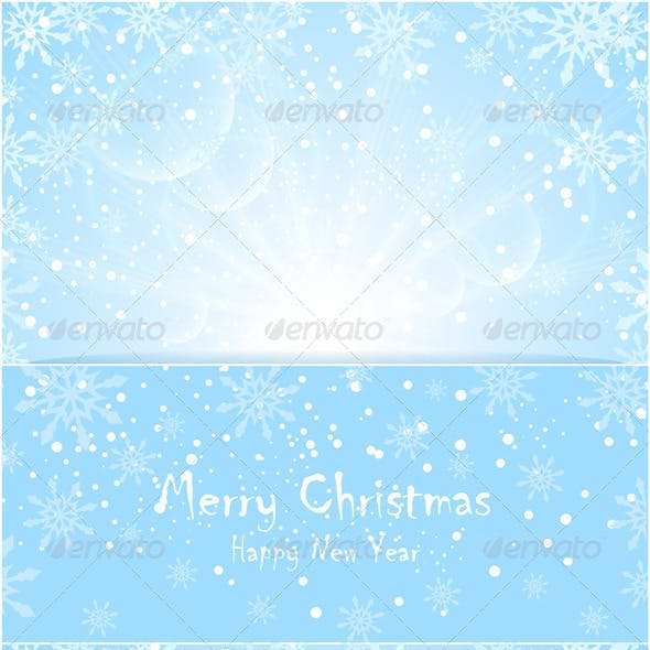 Merry Christmas Background with Sun Snowflakes