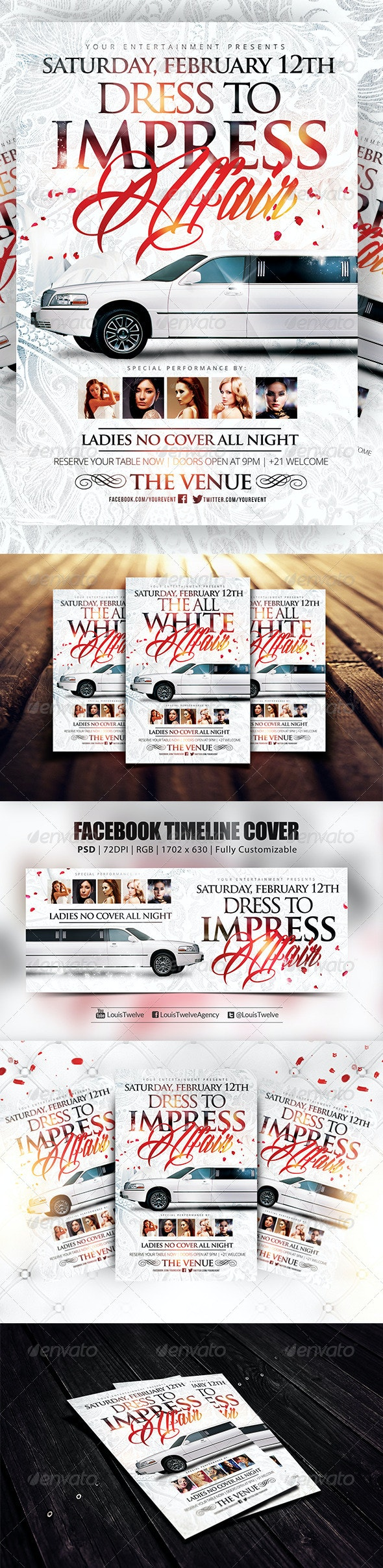 Dress to Impress White Affair | Flyer + FB Cover - Clubs & Parties Events
