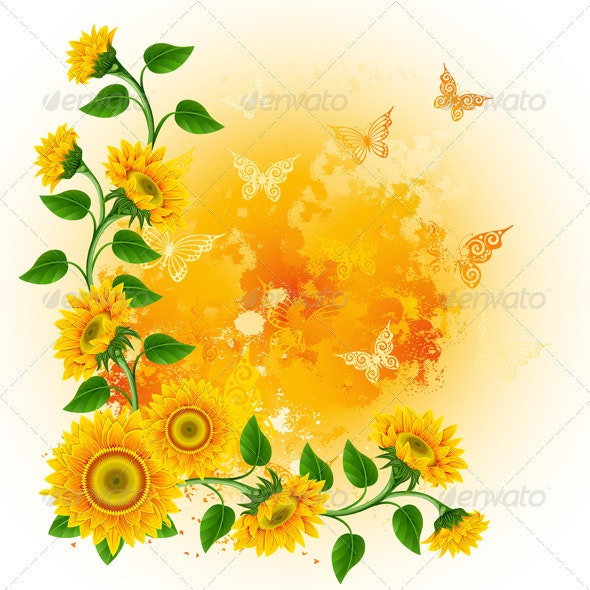 Background with sunflowers - Flowers & Plants Nature