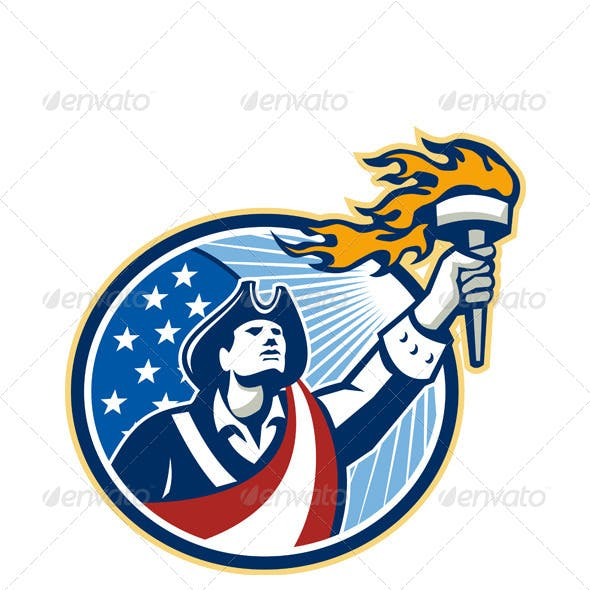 American Patriot Holding Torch Stars Stripes Flag