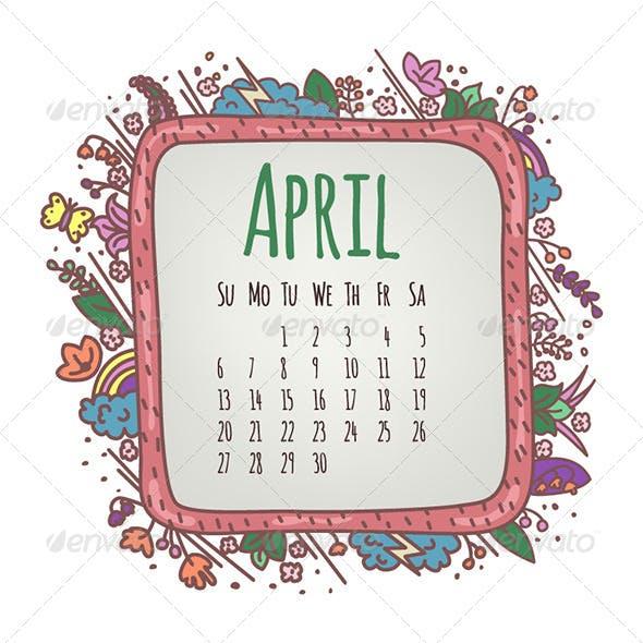 April Illustrated Calendar