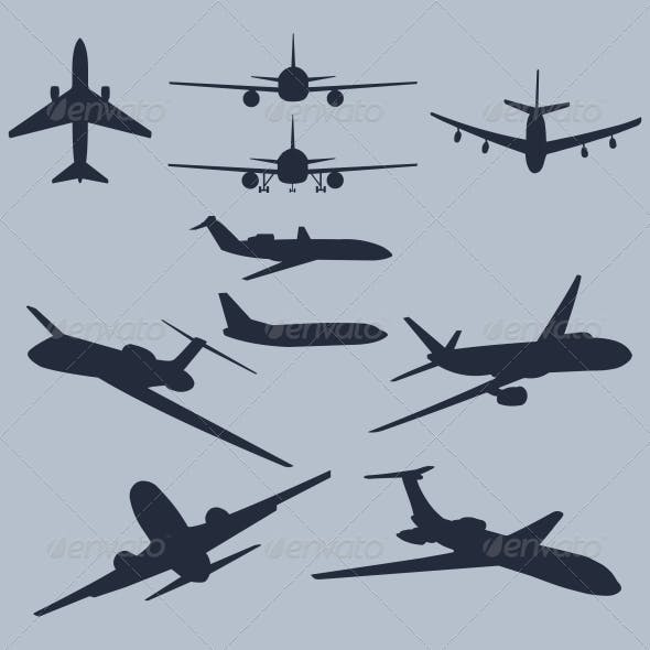 Set of 10 Plane Silhouettes