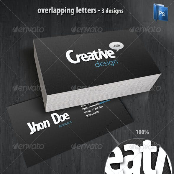 Overlapping Letters Business Cards