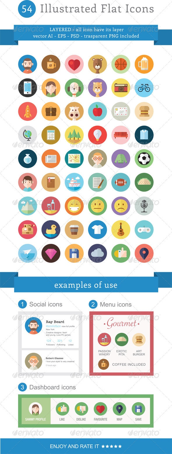 54 Illustrated Flat Icons - Miscellaneous Characters