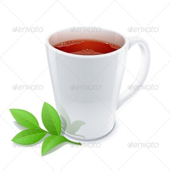 Cup of Tea with Green Tea Leafs