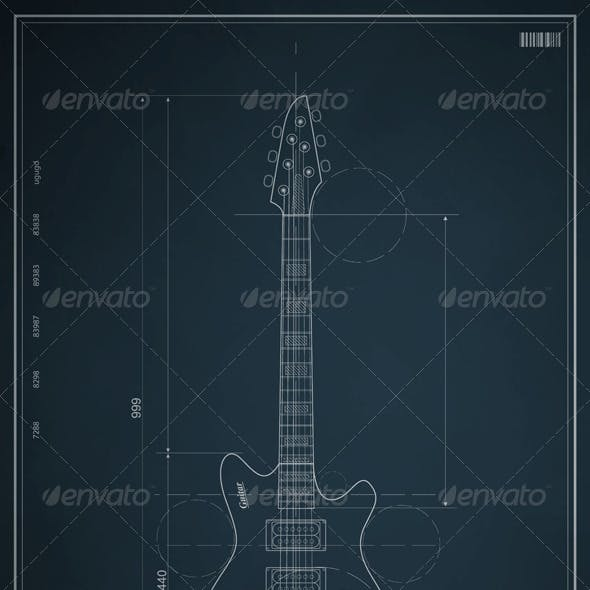 Blueprint electric guitar with the dimensions