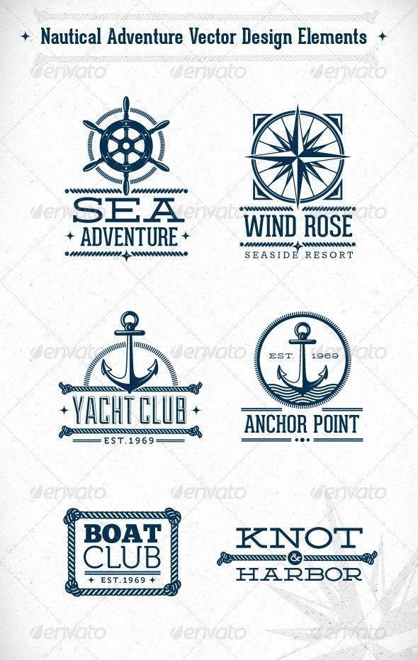 Nautical Adventure Vector Design Elements - Travel Conceptual